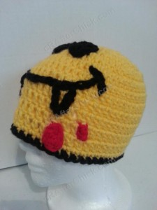 Vampire Fanged Smiley Face Character Beanie Hat Crochet Pattern Left Side View