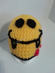 Vampire Fanged Smiley Face Character Beanie Hat Crochet Pattern Worn