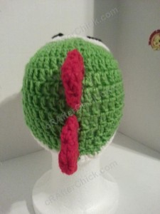 Yoshi Character Beanie Hat Crochet Pattern Rear View