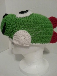 Yoshi Character Beanie Hat Crochet Pattern Left Profile View