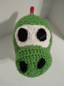 Yoshi Character Beanie Hat Crochet Pattern Front Downward View