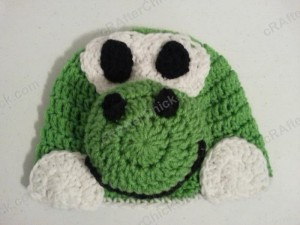 Yoshi Character Beanie Hat Crochet Pattern Front View Lay Flat