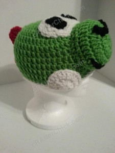 Yoshi Character Beanie Hat Crochet Pattern Front Right View