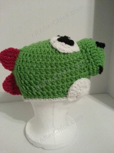 Yoshi Character Beanie Hat Crochet Pattern Right Profile View