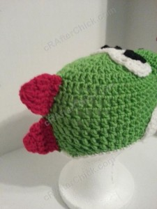 Yoshi Character Beanie Hat Crochet Pattern Right Back View