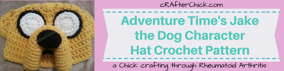 Adventure Time's Jake the Dog Character Hat Crochet Pattern_ a chick crafting through Rheumatoid Arthritis cRAfterChick.com