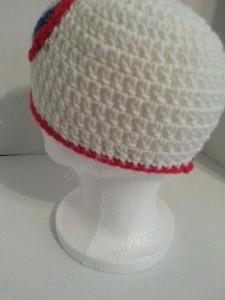 Captain America Superhero Shield Logo Inspired Beanie Hat Crochet Pattern Left Back View