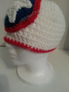Captain America Superhero Shield Logo Inspired Beanie Hat Crochet Pattern Left Profile View