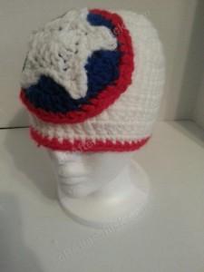 Captain America Superhero Shield Logo Inspired Beanie Hat Crochet Pattern Front Left View