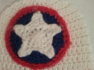 Captain America Superhero Shield Logo Inspired Beanie Hat Crochet Pattern Closeup on logo details