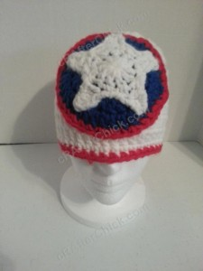Captain America Superhero Shield Logo Inspired Beanie Hat Crochet Pattern Front View