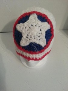 Captain America Superhero Shield Logo Inspired Beanie Hat Crochet Pattern Front Downward View