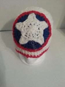 Captain America Superhero Shield Logo Inspired Beanie Hat Crochet Pattern Front Downward View