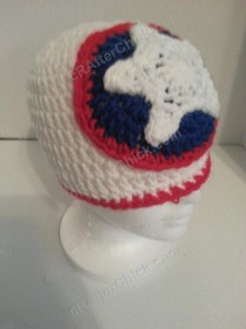 Captain America Superhero Shield Logo Inspired Beanie Hat Crochet Pattern Right Front View