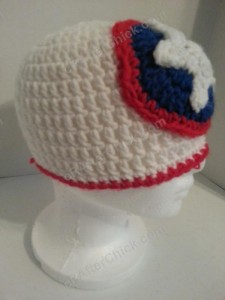 Captain America Superhero Shield Logo Inspired Beanie Hat Crochet Pattern Right Side View