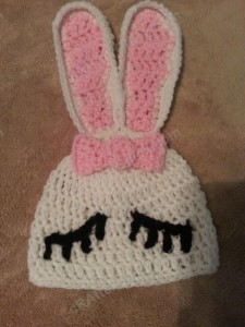 Chibi Sleeping Bunny with Bow Beanie Hat Crochet Pattern laying flat view