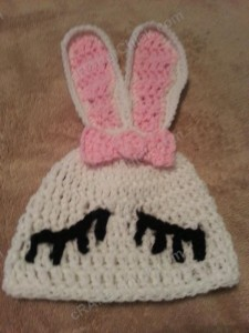 Chibi Sleeping Bunny with Bow Beanie Hat Crochet Pattern Closeup of features