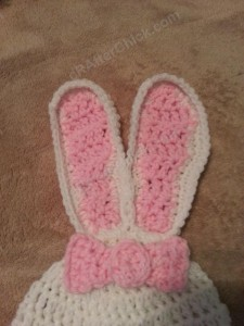 Chibi Sleeping Bunny with Bow Beanie Hat Crochet Pattern Closeup on Bow and Ears