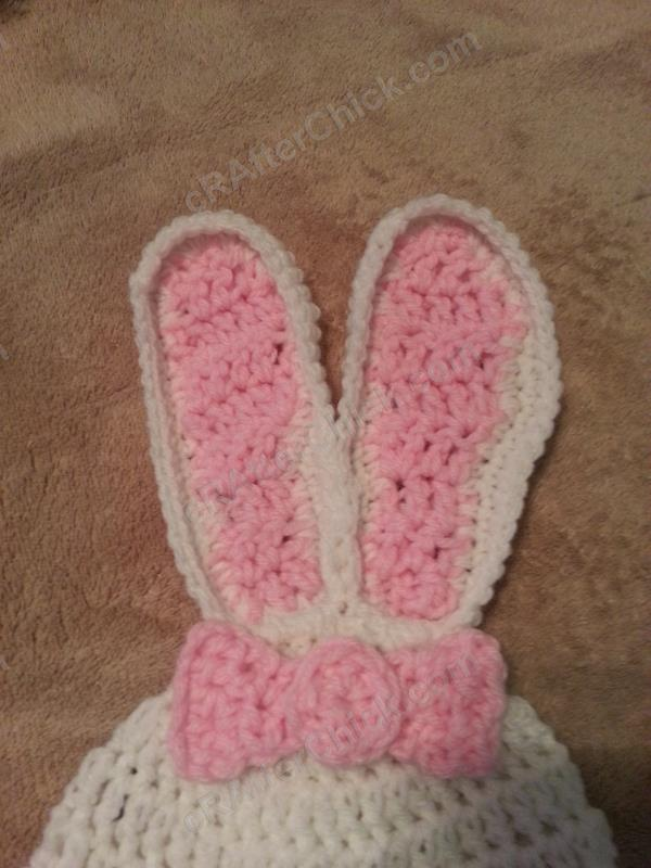 Crochet Hat Pattern With Bow : Chibi Sleeping Bunny with Bow Beanie Hat Crochet Pattern ...
