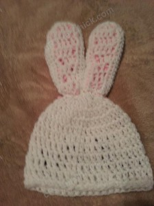 Chibi Sleeping Bunny with Bow Beanie Hat Crochet Pattern Rear View