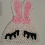 Chibi Sleeping Bunny with Bow Beanie Hat Crochet Pattern