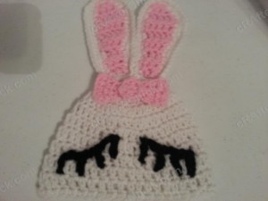 Chibi Sleeping Bunny with Bow Beanie Hat Crochet Pattern Free