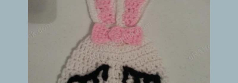 Chibi Sleeping Bunny with Bow Beanie Hat Crochet Pattern