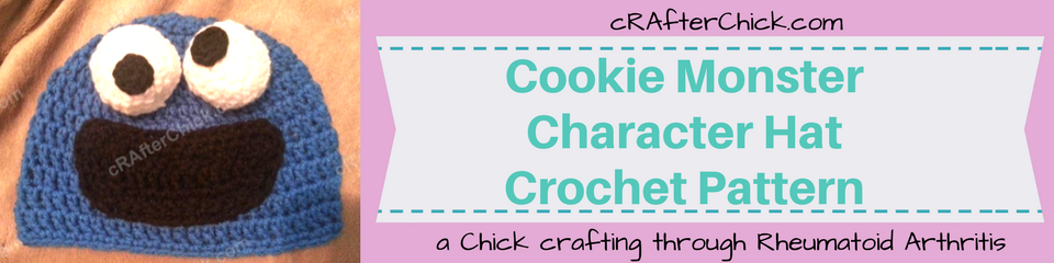 Cookie Monster Character Hat Crochet Pattern_ a chick crafting through Rheumatoid Arthritis cRAfterChick.com