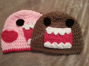 Domo Kun and Pink Domo Love Beanie Hats Crochet Pattern Free