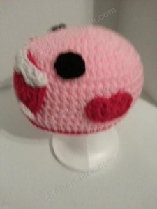 Domo Pink Love Beanie Hats Crochet Pattern Left Side View