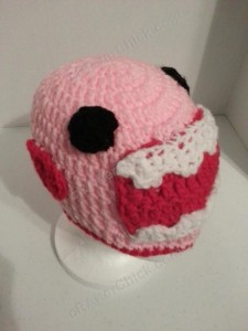 Domo Pink Love Beanie Hats Crochet Pattern Front Right View