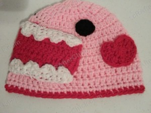 Domo Pink Love Beanie Hat Crochet Pattern Heart Placement