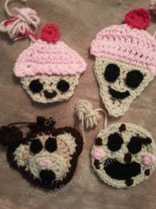 Happy Cupcake Applique Crochet Pattern (2)