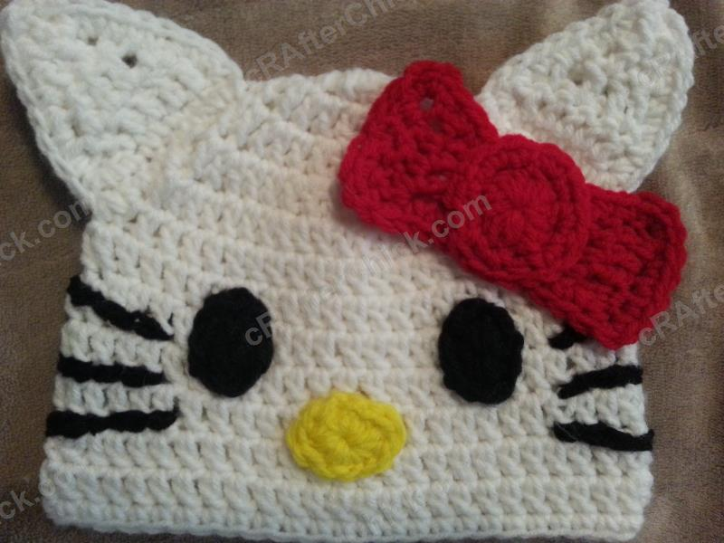 Free Crochet Pattern For A Hello Kitty Hat : Hello Kitty Character Beanie Hat Crochet Pattern ...