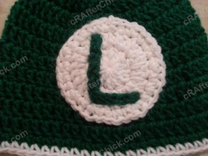 Luigi Beanie Hat Crochet Pattern Closeup on Details
