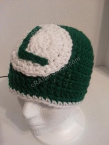 Luigi Beanie Hat Crochet Pattern Front Left View