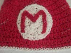 Mario Beanie Hat Crochet Pattern Closeup View of Details