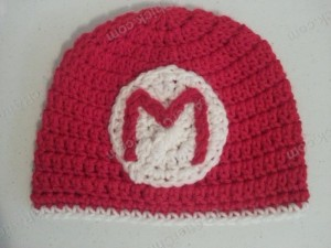 Mario Beanie Hat Crochet Pattern Laying Flat