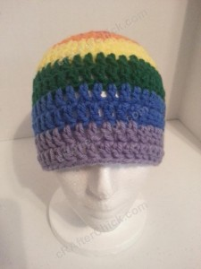 Rainbow Gay Pride Striped Beanie Hat Crochet Pattern for Teen Womens Men sizes (2)