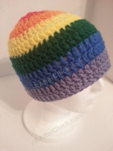 Rainbow Gay Pride Striped Beanie Hat Crochet Pattern for Teen Womens Men sizes (3)