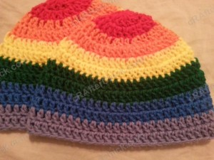 Rainbow Gay Pride Striped Beanie Hat Crochet Pattern for Teen Womens Men sizes