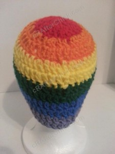 Rainbow Gay Pride Striped Beanie Hat Crochet Pattern for Teen Womens  Men sizes (4)