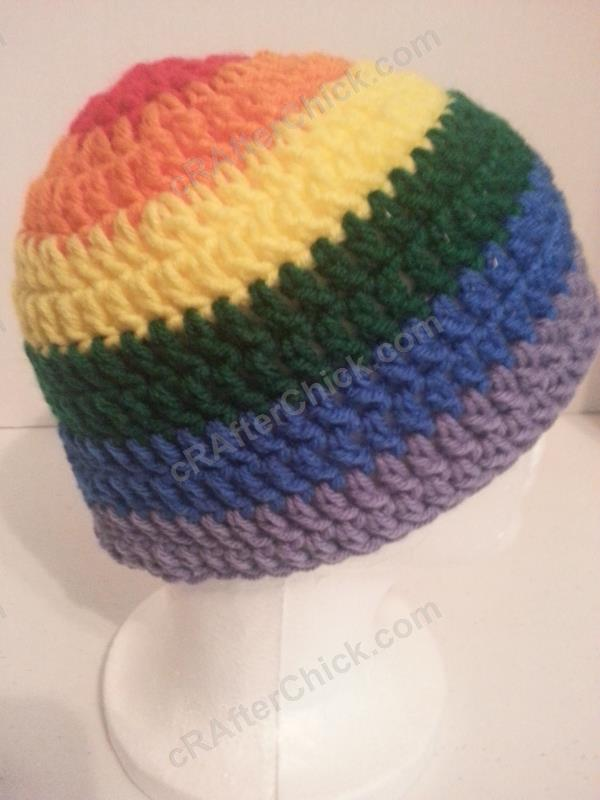 Rainbow Gay Pride Striped Beanie Hat Crochet Pattern For Teen