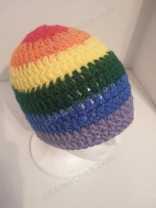 Rainbow Gay Pride Striped Beanie Hat Crochet Pattern for Teen Womens  Men sizes (6)
