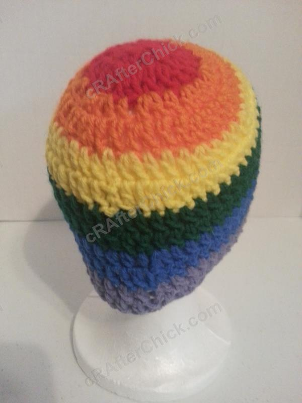 Rainbow Gay Pride Striped Beanie Hat Crochet Pattern For