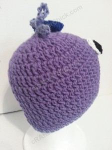 Rochelle's Pretty Purple Chick Beanie Hat Crochet Pattern Right Rear View