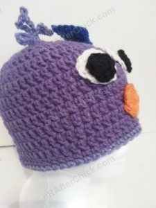 Rochelle's Pretty Purple Chick Beanie Hat Crochet Pattern Right Profile