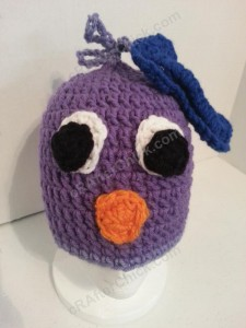Rochelle's Pretty Purple Chick Beanie Hat Crochet Pattern Front View