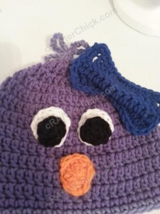 Rochelle's Pretty Purple Chick Beanie Hat Crochet Pattern Closeup on feature details