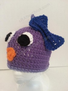 Rochelle's Pretty Purple Chick Beanie Hat Crochet Pattern Front Left View